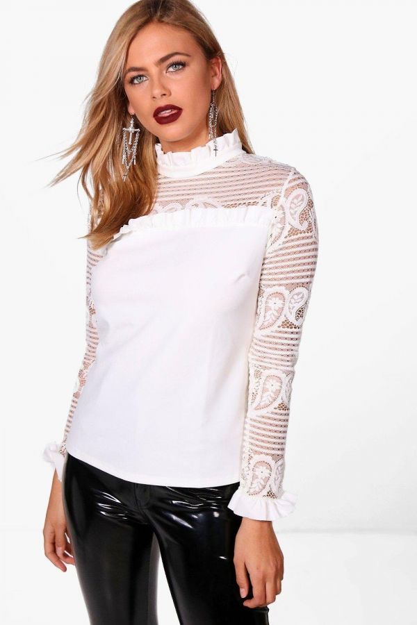 White blouse with transparent sleeves
