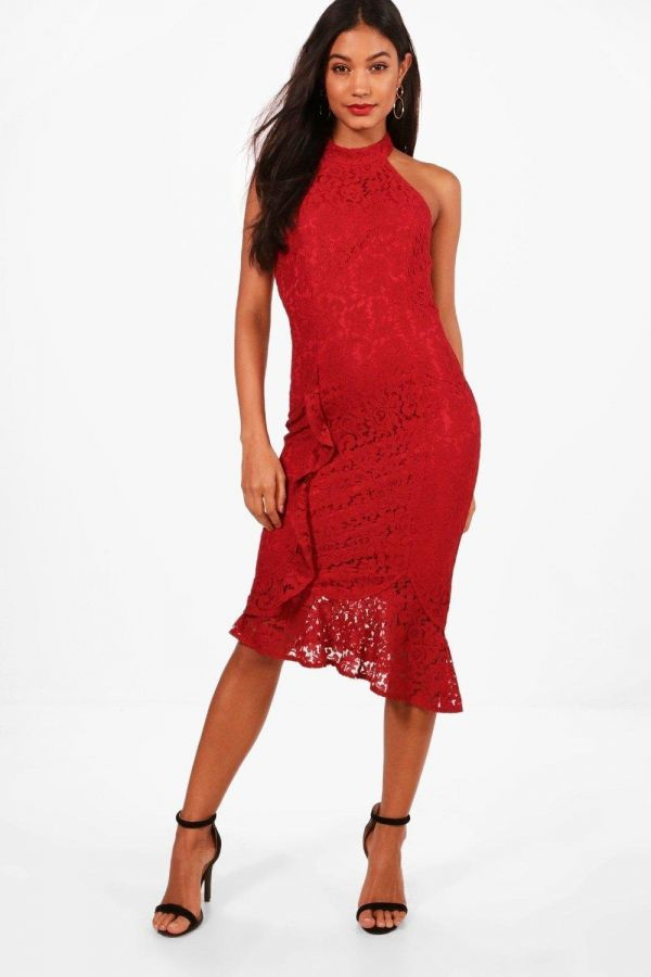 Medium length dress with lace