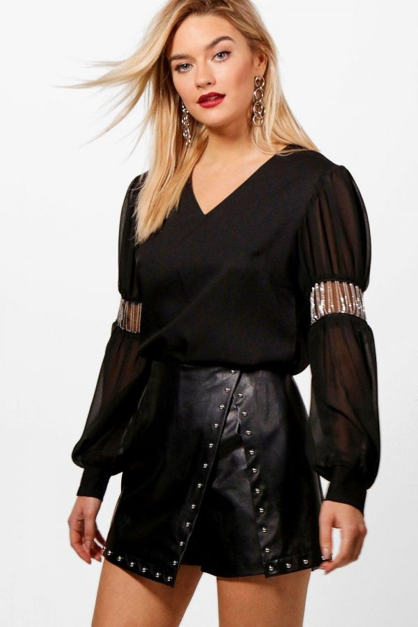 Blouse with Chiffon Sleeves