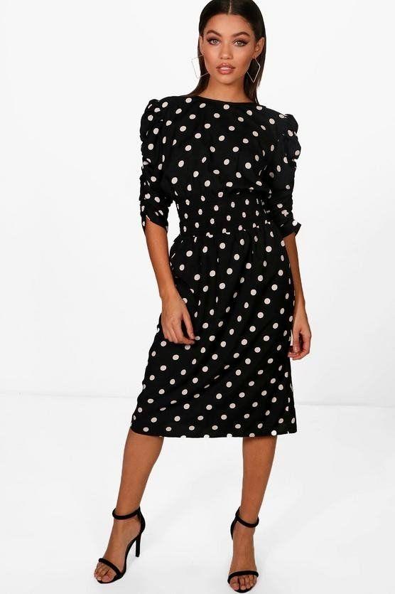 Black dress dotted brand Bauho