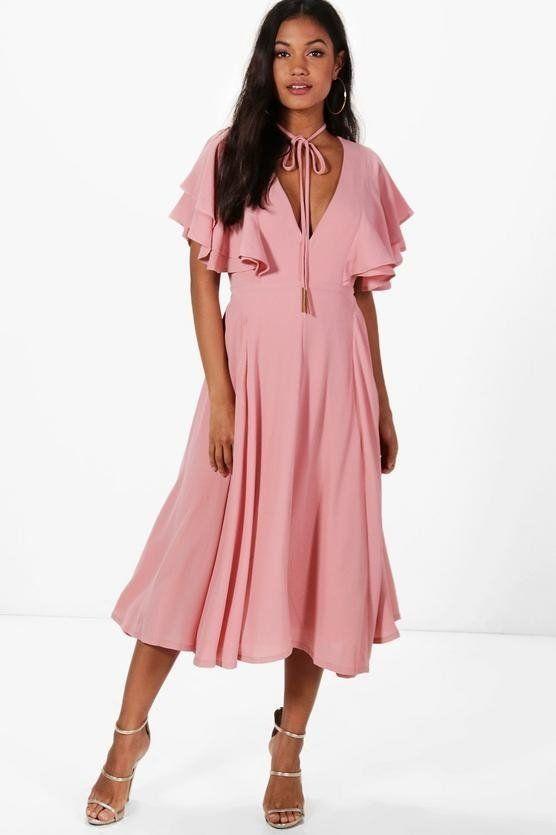 فستان وردي متوسط الطول-2