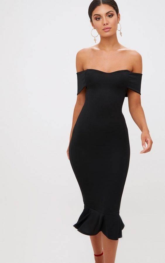 فستان اوف شولدر متوسط الطول