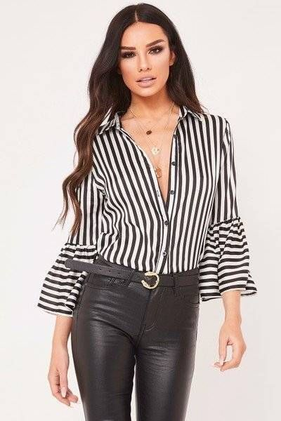 A striped blouse with sleeves