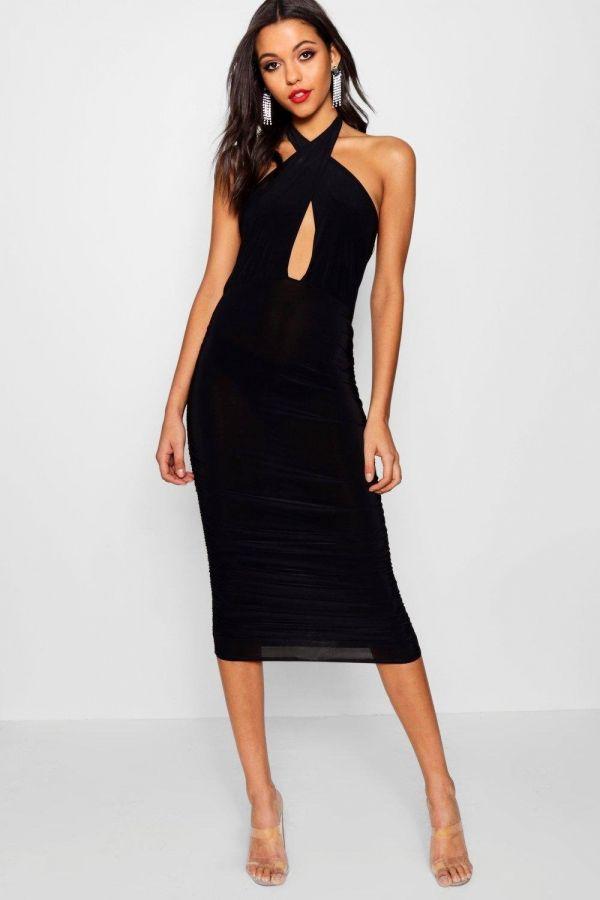فستان اسود متوسط الطول بوهو