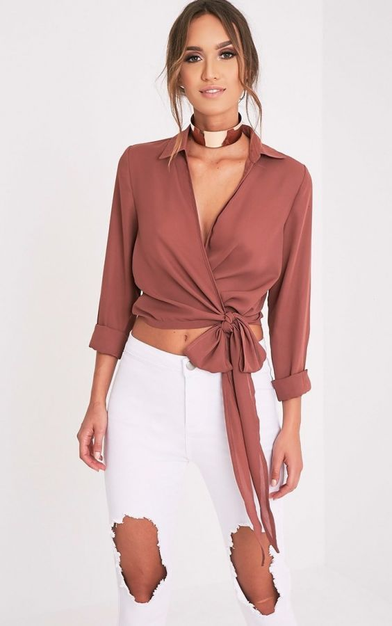 Pink blouse with sleeves