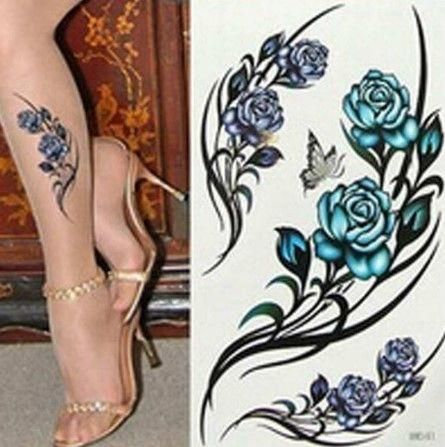 The tattoos are colored in a rose pattern