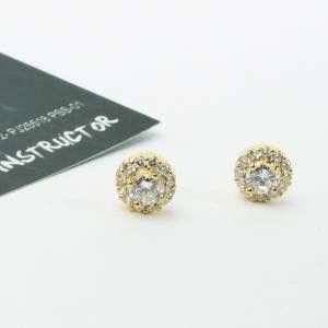 Zircon earrings round small size