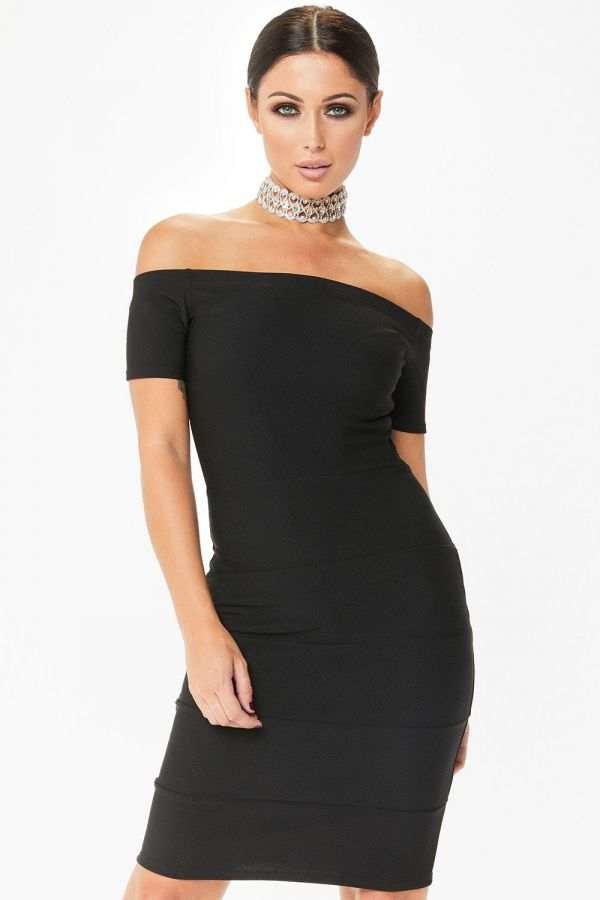 Black maxi dress with short sleeves on shoulders