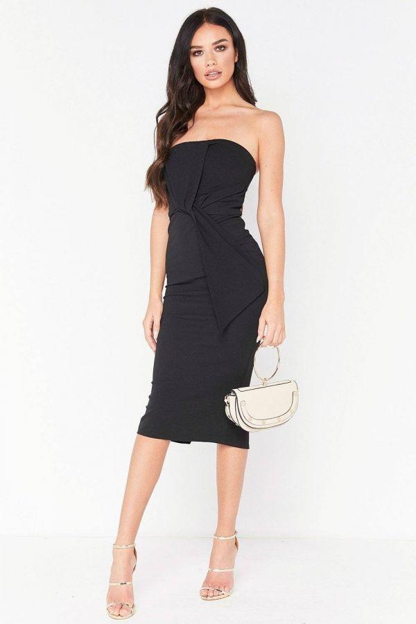 فستان أسود متوسط الطول