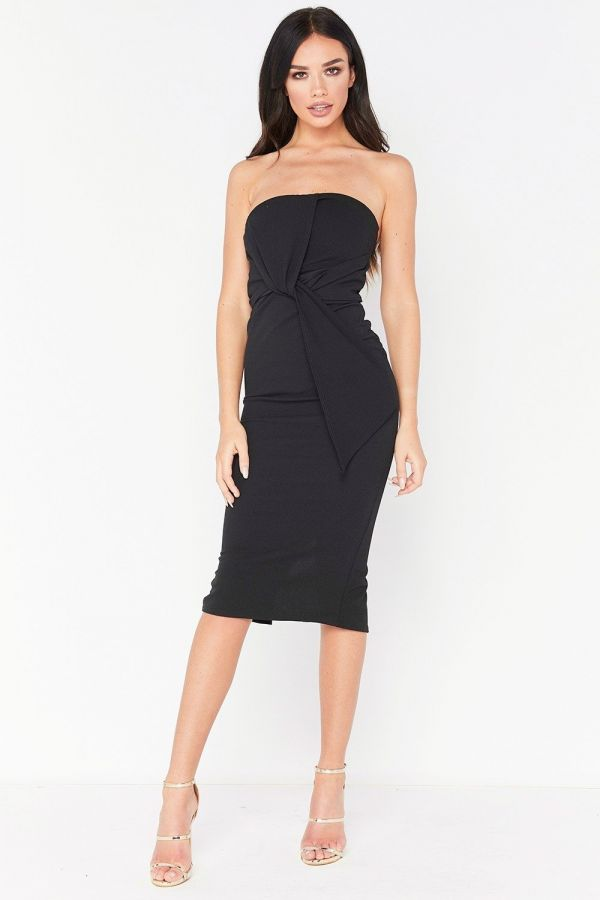 فستان أسود متوسط الطول برابط من الأمام