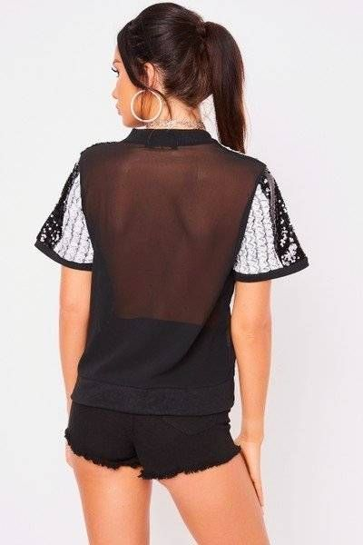 T-shirt decorated with black sequins