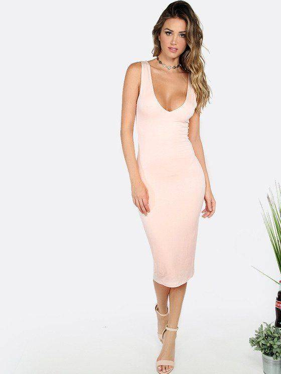 Tight pink dress Nude back sleeveless