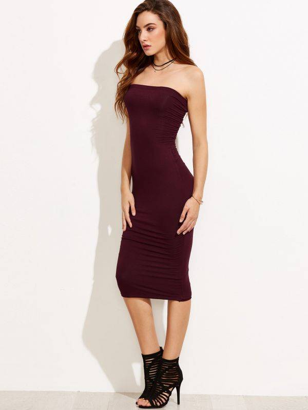 Midi tight purple dress