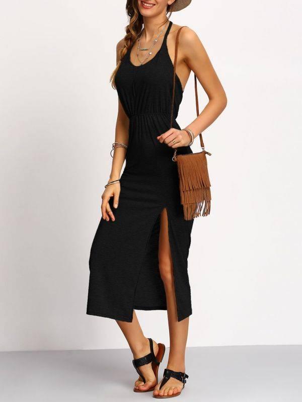 فستان ضيق أسود عاري الظهر-3