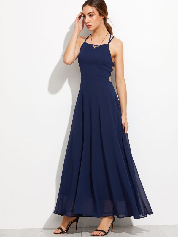 Dark blue dress belted back sleeveless