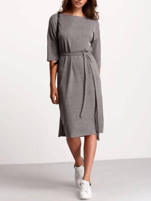 فستان رمادي متوسط الطول-1
