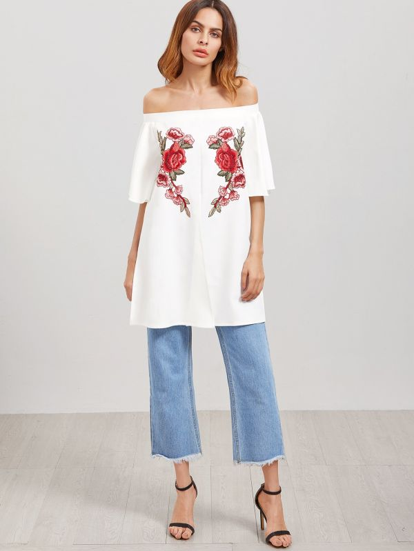 Open Shoulder Jacket Medium Sleeve Print Flowers - White