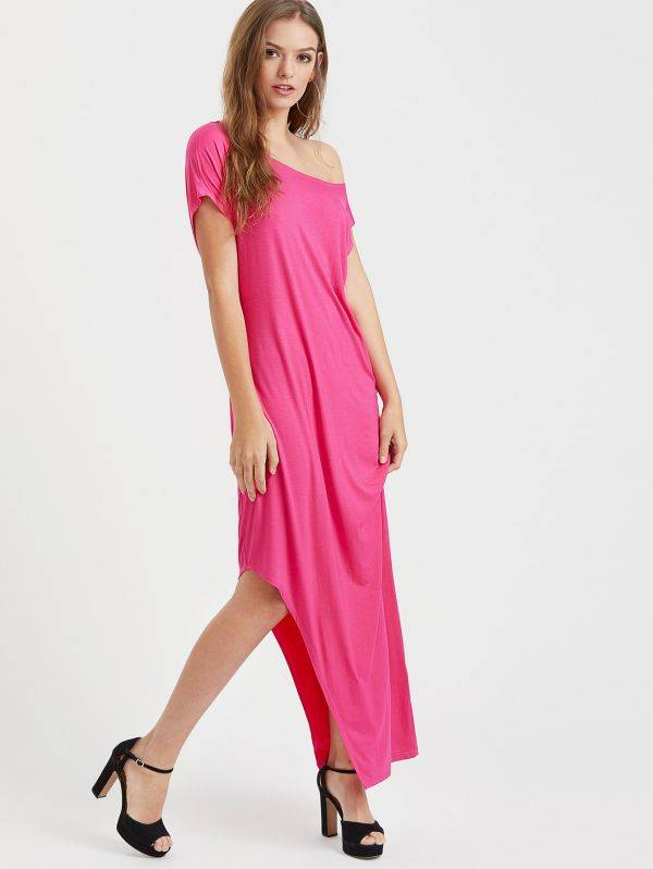 Dress T-shirt open shoulder - pink