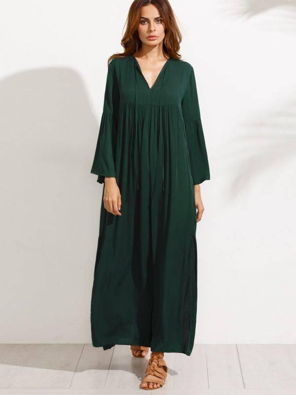 فستان ماكسي اخضر داكن كاجوال باكمام جرس-1