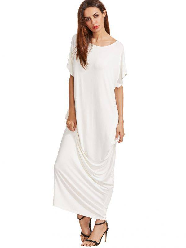 Long white dress with short sleeves