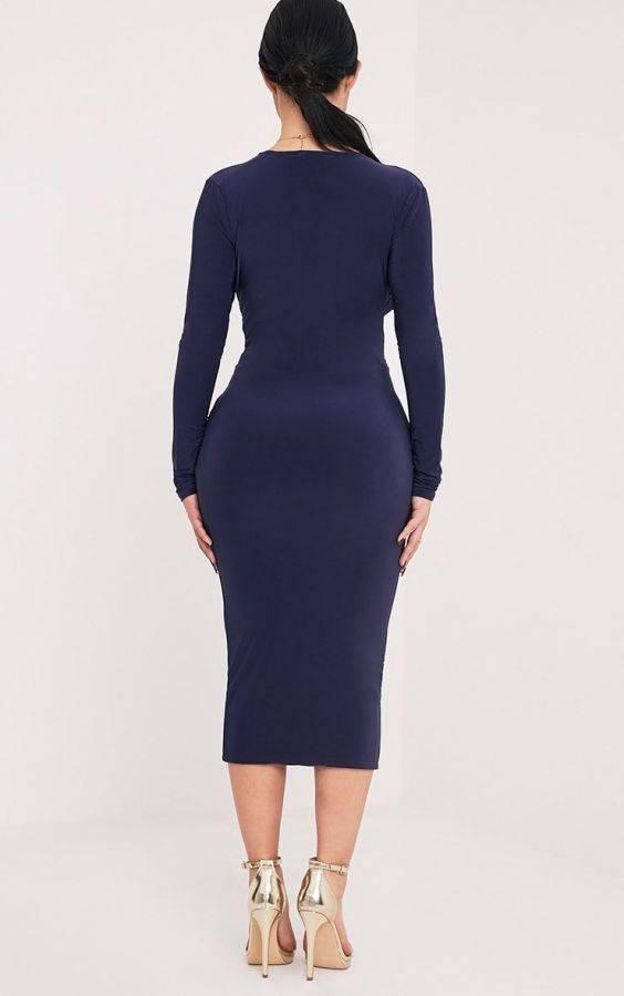 فستان كحلي متوسط الطول بكم طويل-4