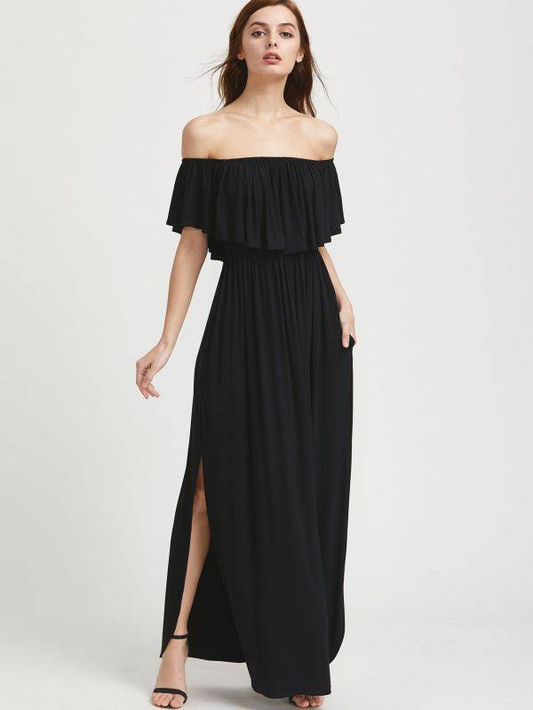 Dress Maxi Open Shoulder Black