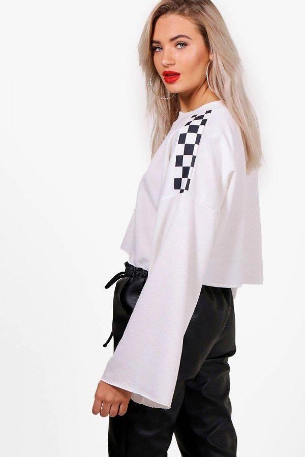 A white chess blouse