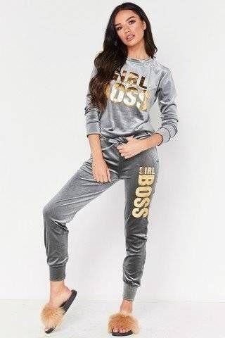 Gray sportswear suit