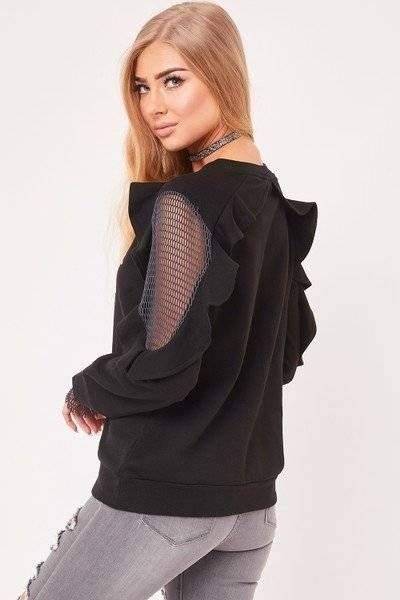 Black blouse with ruffle