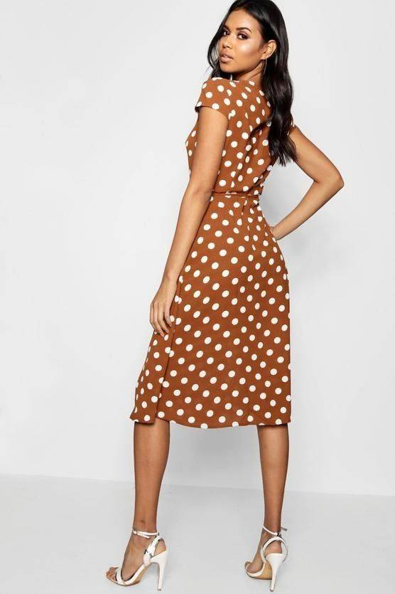 White Dotted Midi Dress