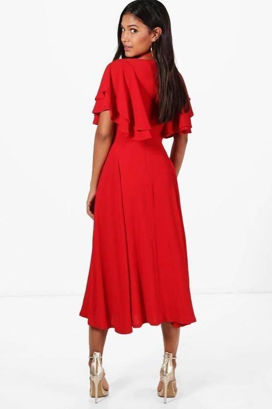 فستان وردي متوسط الطول-1