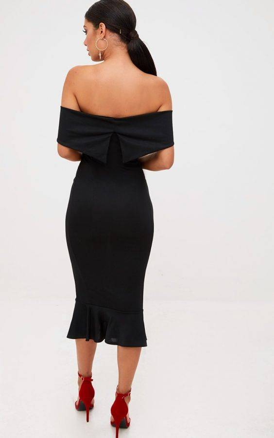فستان اوف شولدر متوسط الطول-4