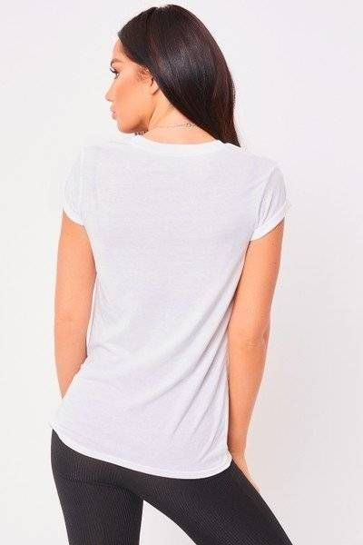 White T-shirt with a palm print