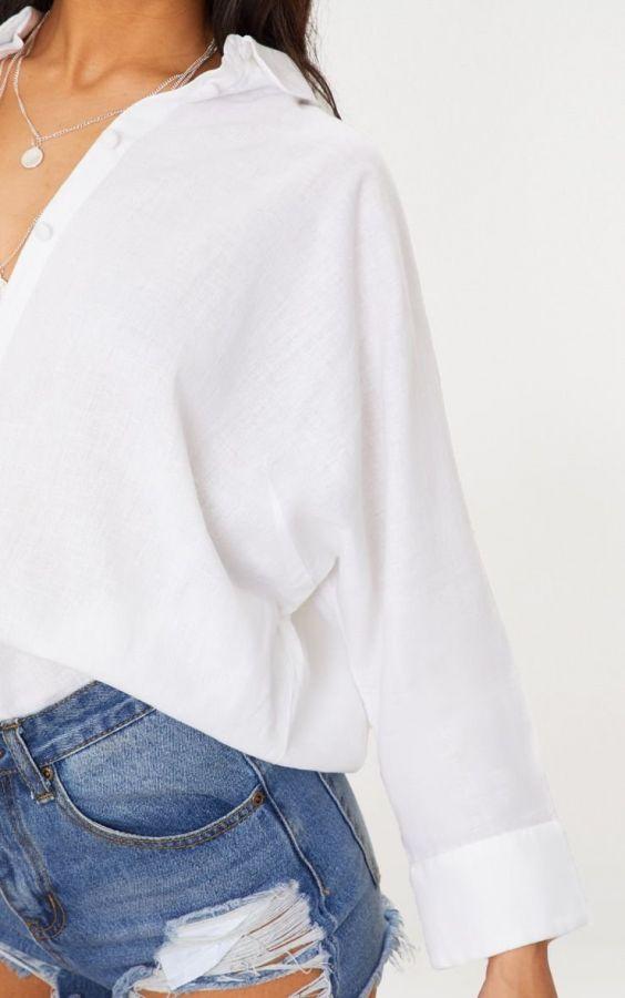 White summer blouse is nice linen