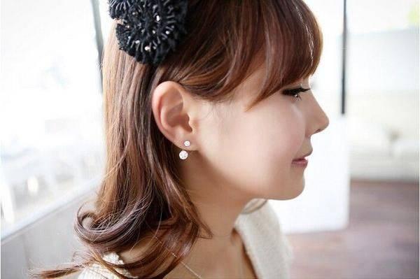 Shaving Cubic Zircon Curve Double Earring