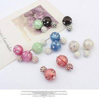 Double crystal colored earring