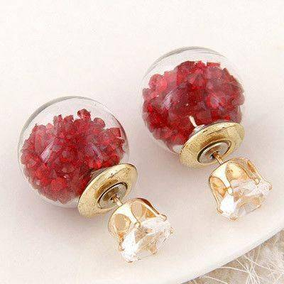 Double Side earrings are filled with crystal