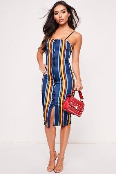 The Midi Dress is striped with stylish design buttons