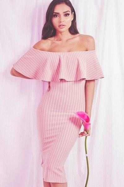 فستان باردو مخطط ميدي وردي بتفاصيل الرتوش