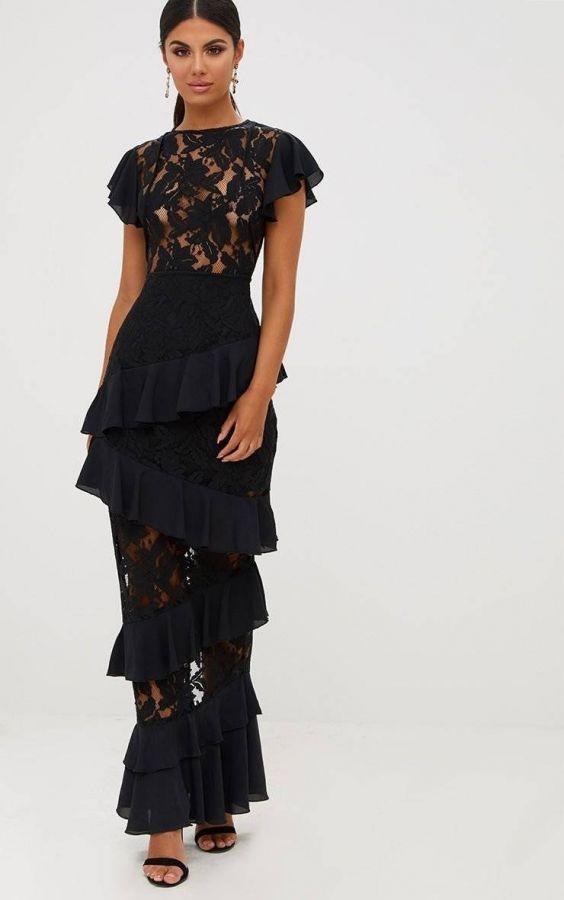 فستان ماكسي من الدانتيل الأسود المكشكش