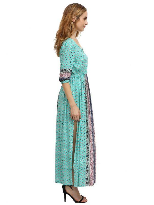 Long Sleeve Half Dress - Blue