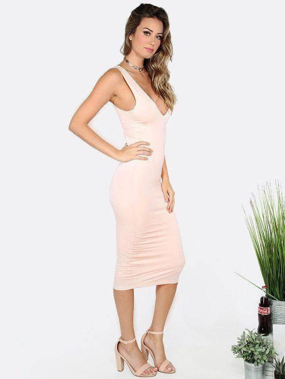 Tight pink dress Nude back sleeveless