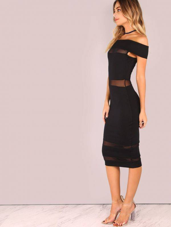 Stylish Dress Unveiled Shoulder - Black