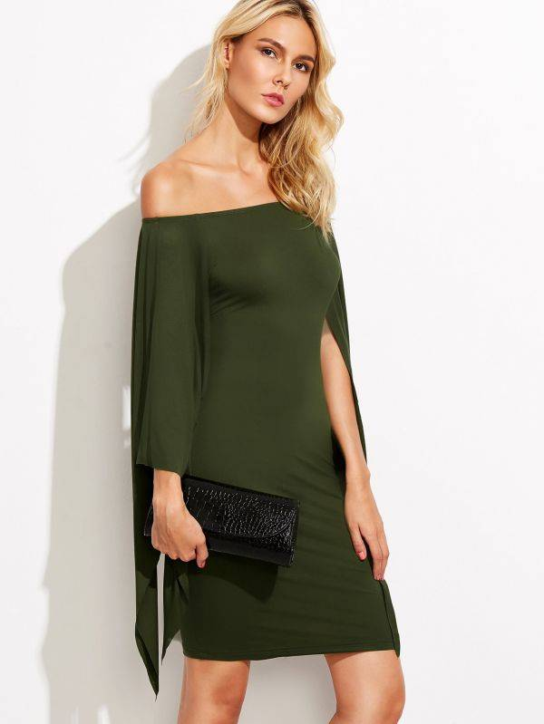 An open green olive dress with a back strap