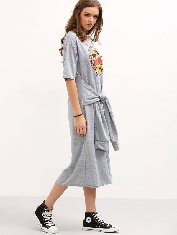 Gray T-shirt short sleeve dress