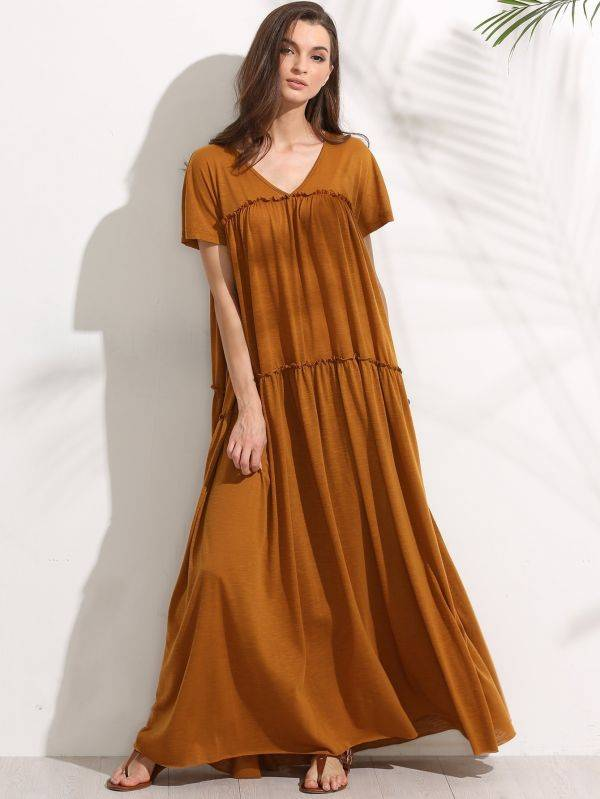 Yellow maxi dress short sleeve
