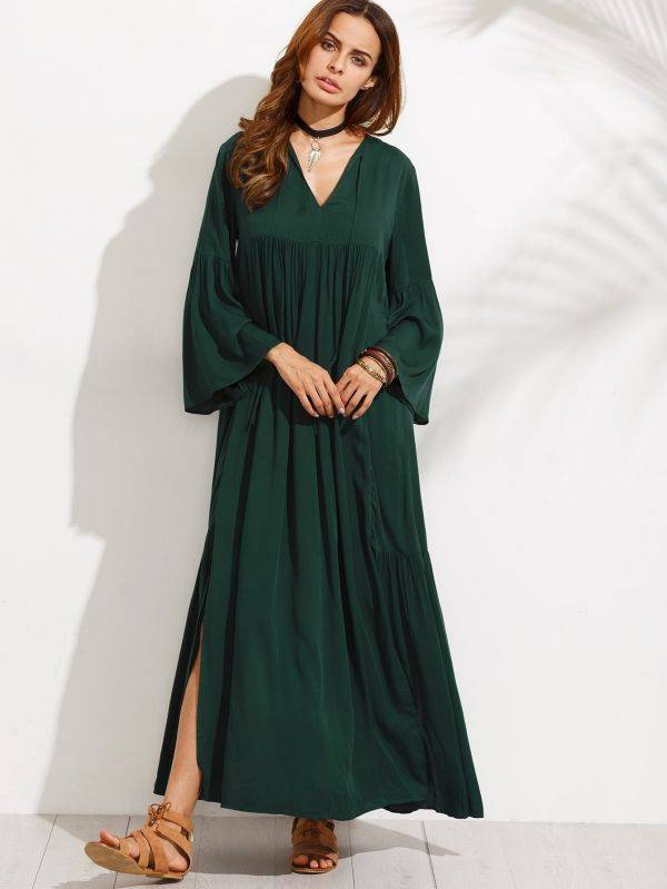 Dark green maxi dress with bell sleeves