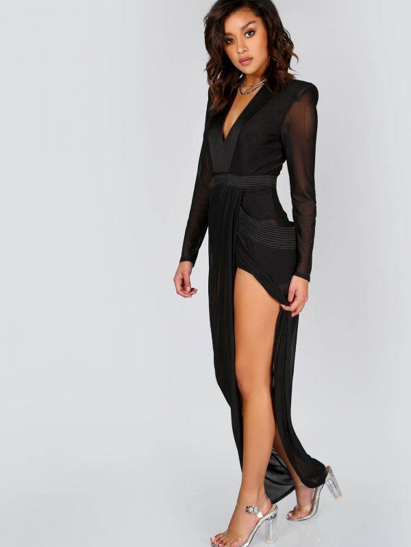 Black Dress Long Sleeve Open Front Transparent