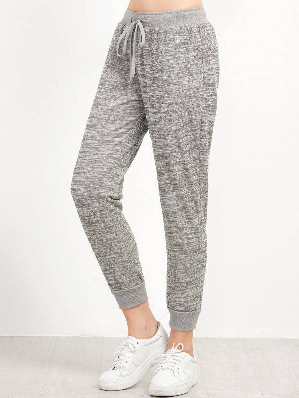 Casual pants with gray waistband
