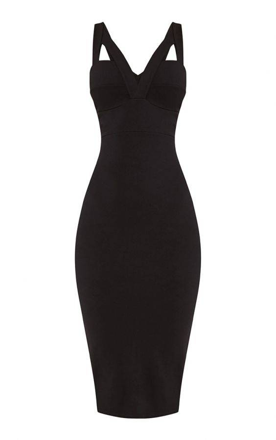 Medium black dress with open back